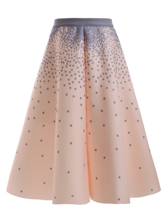 online Polka Dot A Line Skirt - APRICOT ONE SIZE