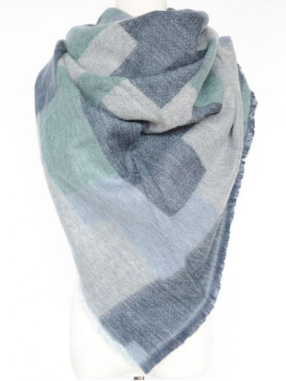 Winter Geometry Scarf - BLUE  Mobile