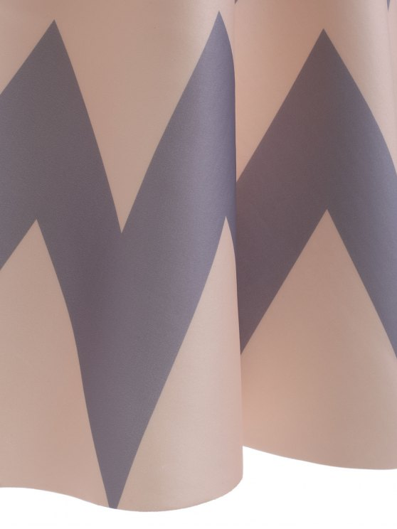 High Waisted Chevron Skirt - APRICOT ONE SIZE Mobile