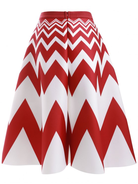 High Waisted Zig Zag A Line Skirt - RED WITH WHITE ONE SIZE Mobile