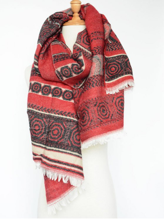 buy Winter Bohemian Geometry Scarf - RED