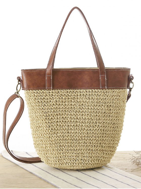 Splicing Tissage Straw Shoulder Bag - RAL1001Beige