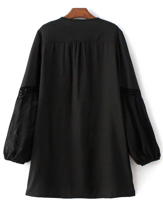 Crochet Trim Semi Sheer Dress - BLACK S Mobile