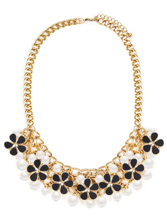buy Floral Faux Pearl Wedding Jewelry Necklace - BLACK