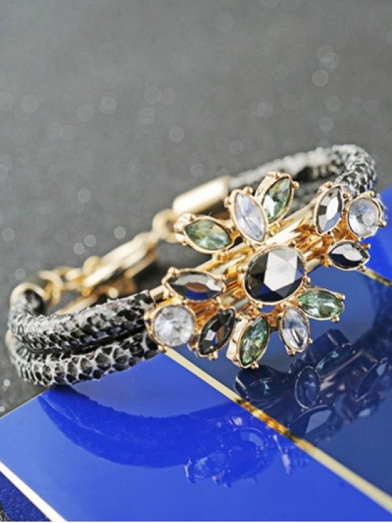 PU Leather Faux Crystal Bracelet - GOLDEN  Mobile