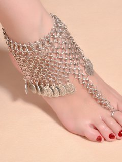 Chic Alloy Coins Anklet - Silver