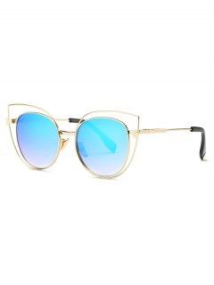 Hollow Cat Eye Mirrored Sunglasses - Light Blue