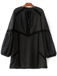 Crochet Trim Semi Sheer Dress - Black S