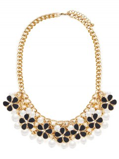 Floral Faux Pearl Wedding Jewelry Necklace - Black