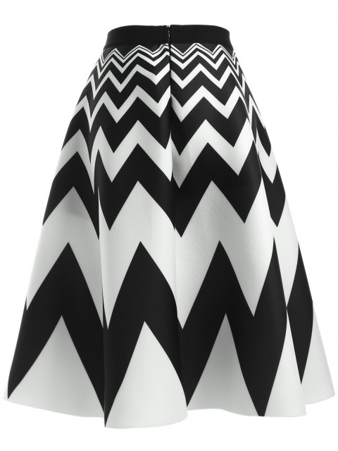 new Zig Zag High Waisted Skirt - WHITE AND BLACK ONE SIZE Mobile