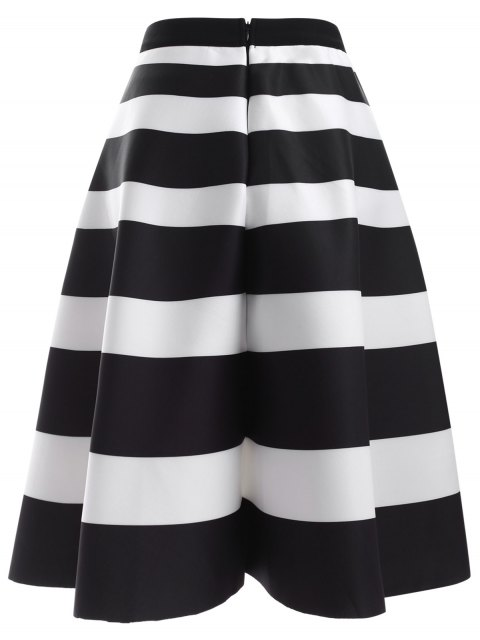 trendy Striped High Waisted Skirt - WHITE AND BLACK ONE SIZE Mobile