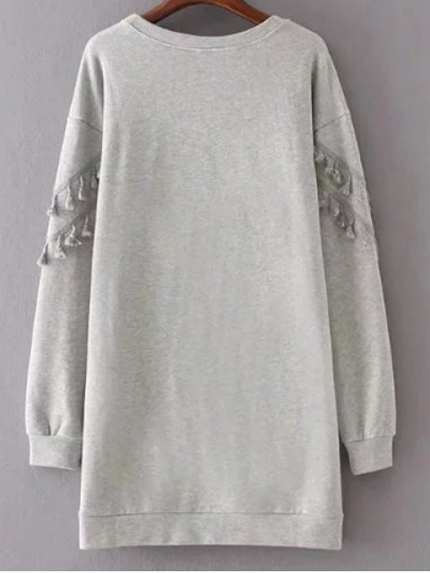 outfit Fringed Grey Sweatshirt Dress - GRAY L Mobile