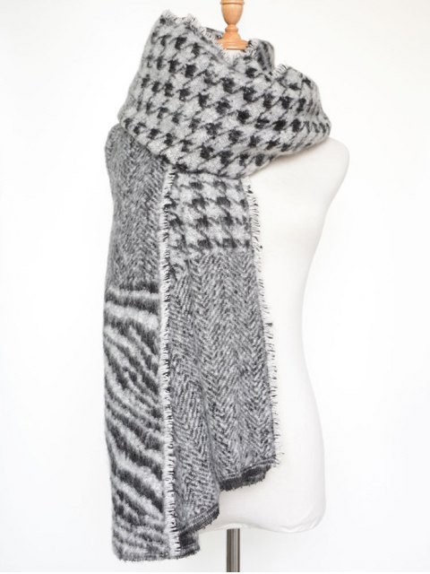 buy Houndstooth Zebra Stripe Scarf - BLACK  Mobile