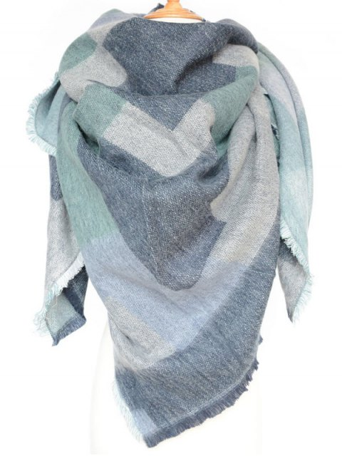 lady Winter Geometry Scarf - BLUE  Mobile
