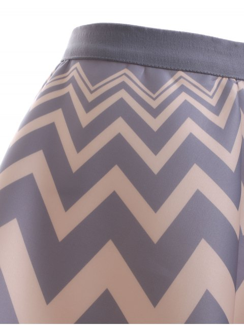new High Waisted Chevron Skirt - APRICOT ONE SIZE Mobile