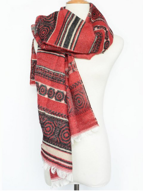 buy Winter Bohemian Geometry Scarf - RED  Mobile