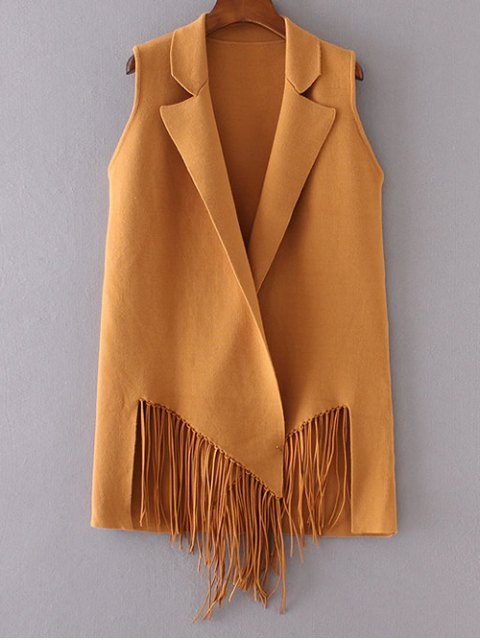 womens Fringed Knitted Lapel Waistcoat - DEEP YELLOW ONE SIZE Mobile