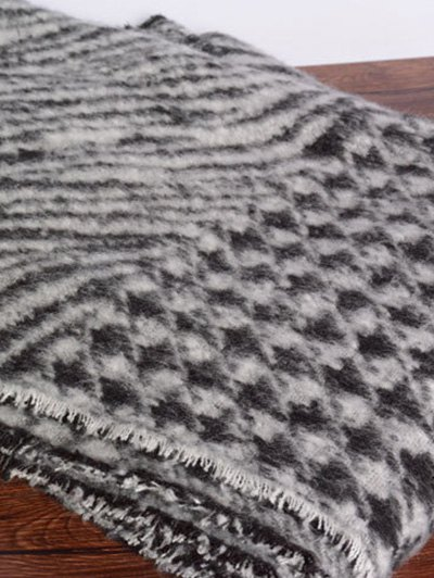 Houndstooth Zebra Stripe Scarf - BLACK  Mobile