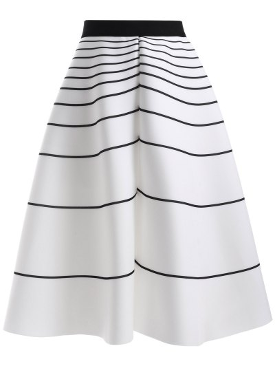 High Waisted Stripe Skirt - WHITE ONE SIZE Mobile