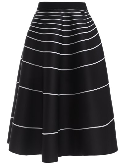 Stripe High Waisted Skirt - BLACK ONE SIZE Mobile