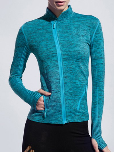 Stand Collar Space-Dyed Long Sleeve Jacket - LAKE BLUE S Mobile