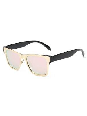 Bloque De Color Con Espejo Gafas De Sol Wayfarer - Rosa