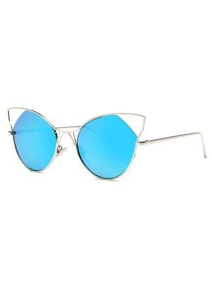 Cut Out Cat Ear Mirrored Sunglasses - Light Blue