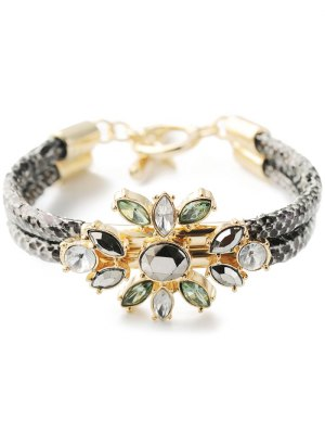 PU Leather Faux Crystal Bracelet - Golden