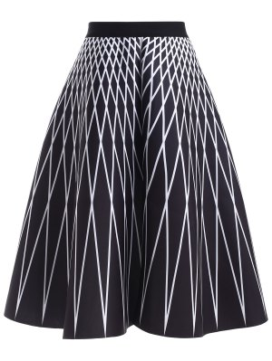 High Waisted Geometric Print Skirt - Black