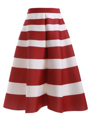 High Waisted Stripes Skirt - Red With White