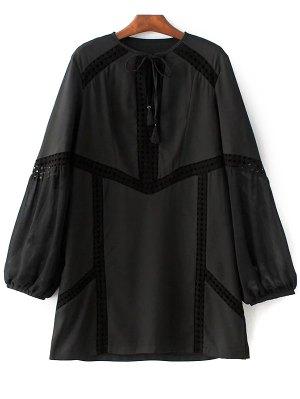 Crochet Trim Semi Sheer Dress - Black