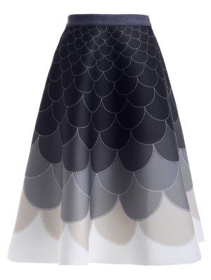 Ombre High Waisted Fish Scale Print Skirt - Purplish Blue