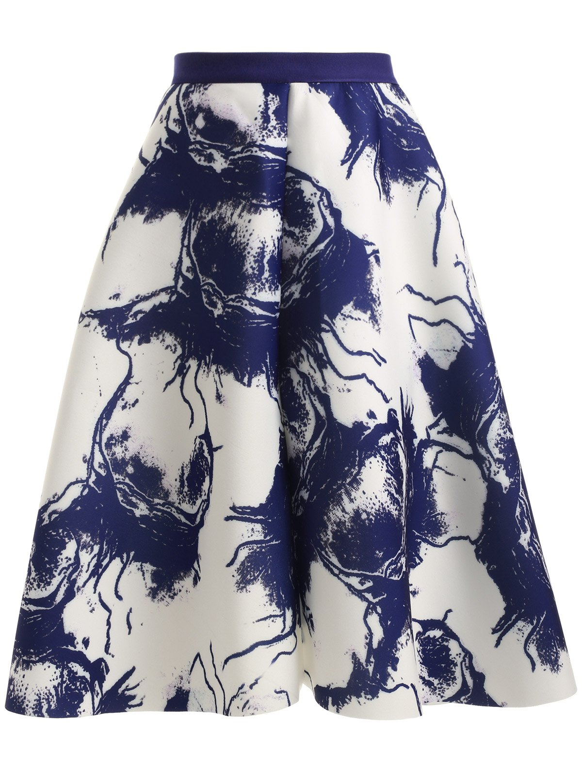 High Waisted Ink Painting SkirtClothes<br><br><br>Size: ONE SIZE<br>Color: BLUE AND WHITE