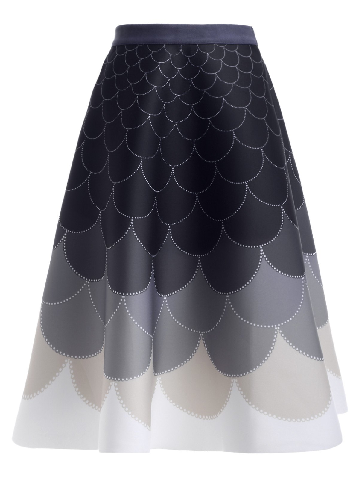Ombre High Waisted Fish Scale Print Skirt