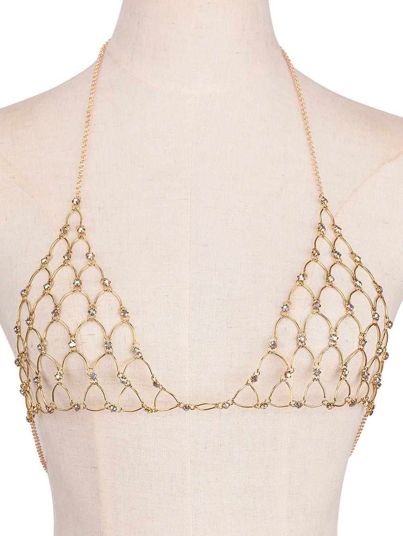 Gorgeous Rhinestoned Triangle Bra Body Chain