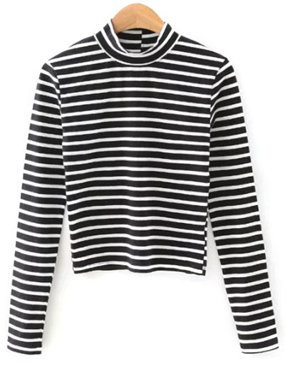 Stand Neck Striped Cropped T-Shirt