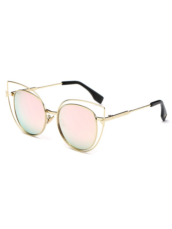 Stylish Hollow Out Cat Eye Mirrored Sunglasses