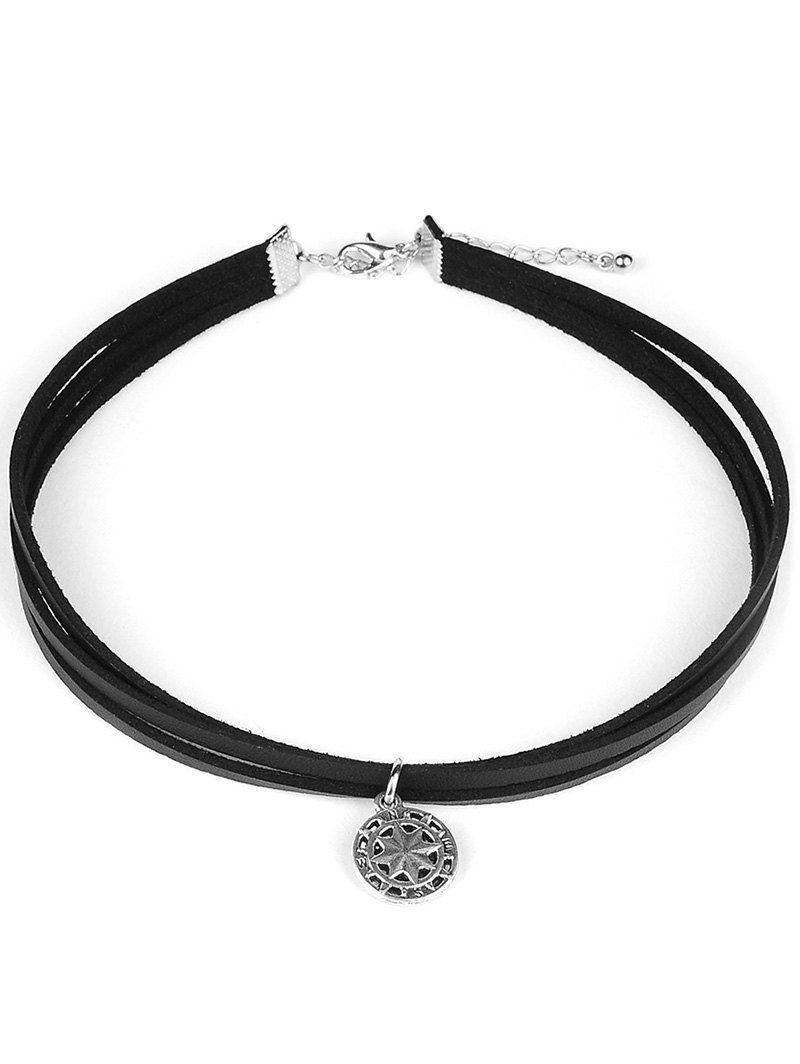PU Leather Round Pendant ChokerAccessories<br><br><br>Color: BLACK