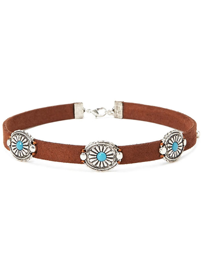 Punk Style Faux Leather Blossom Choker