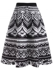 Printed Back Zipper High Waisted Skirt