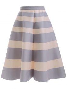 High Waisted Striped Skirt LIGHT GRAY: Skirts ONE SIZE | ZAFUL