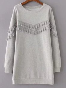 Fringed Grey Sweatshirt Dress