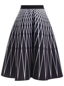 High Waisted Geometric Print Skirt