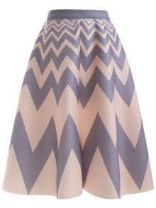 High Waisted Chevron Skirt