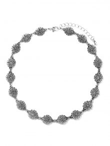Filigree Flower Choker - Silver