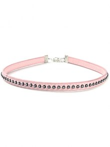 Buy Rhinestoned Faux Leather Necklace - PINK
