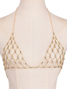 Rhinestone Triangle Bra Body Chain - Golden