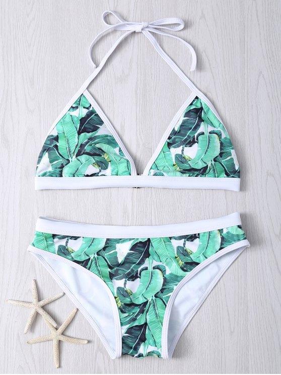 Ensemble Bikini dos nu imprimé feuilles pour femmes - Vert S