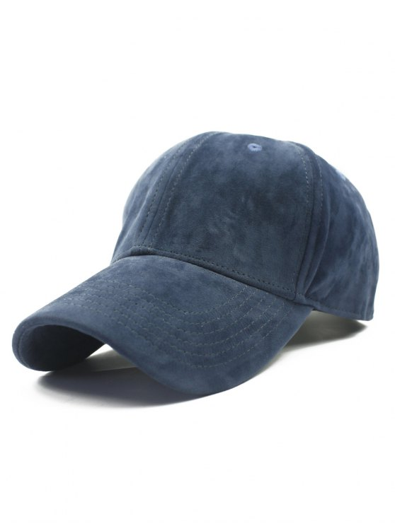 online Adjustable Buckle Faux Suede Baseball Hat - DEEP BLUE