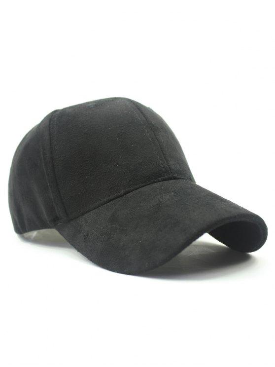 Solid Color Faux Suede Baseball Hat - BLACK  Mobile